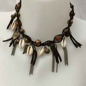 Jewelry - Brown brass cowrie conch shell necklace new